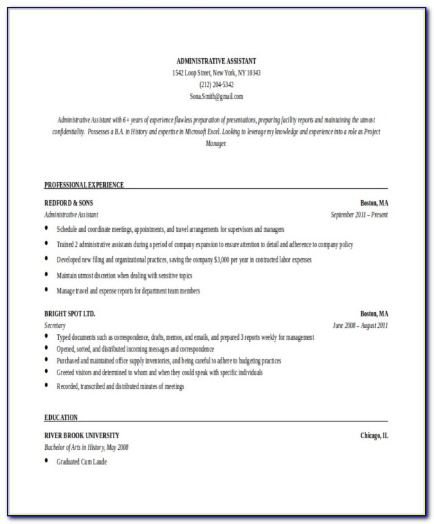 Free Templates For Administrative Assistant Resume