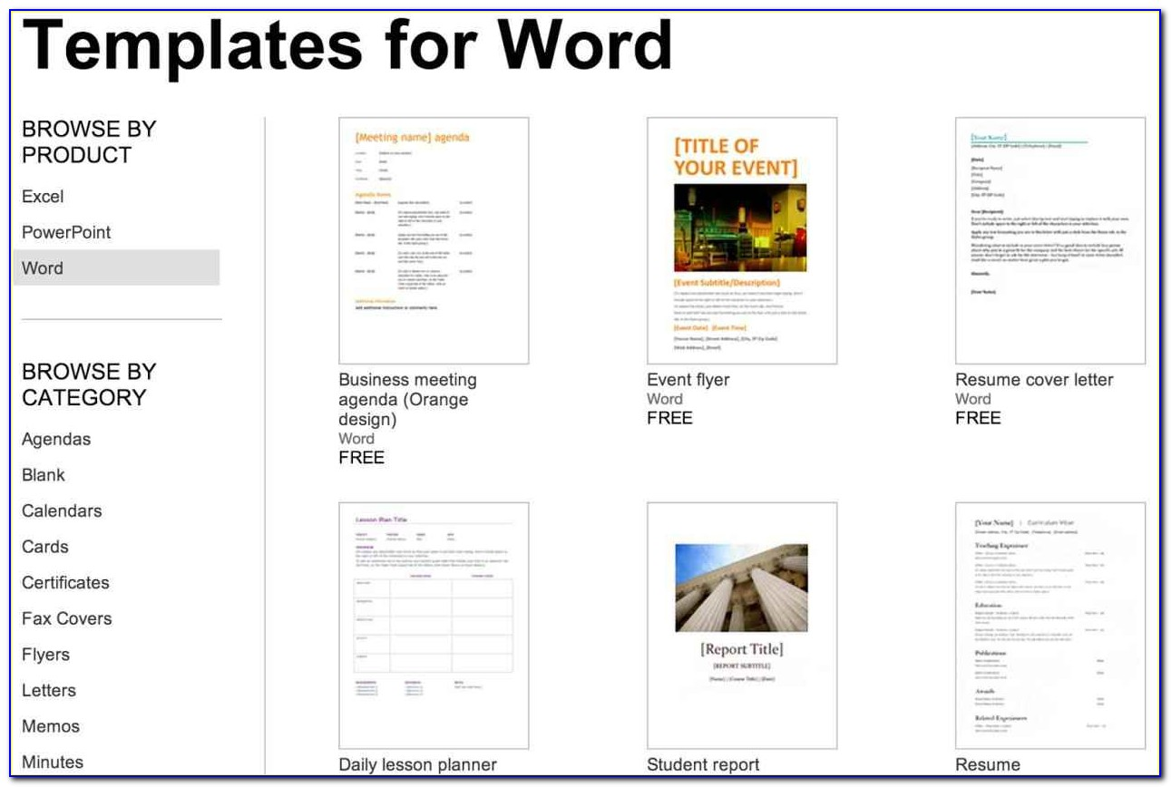 Free Templates For Word Document