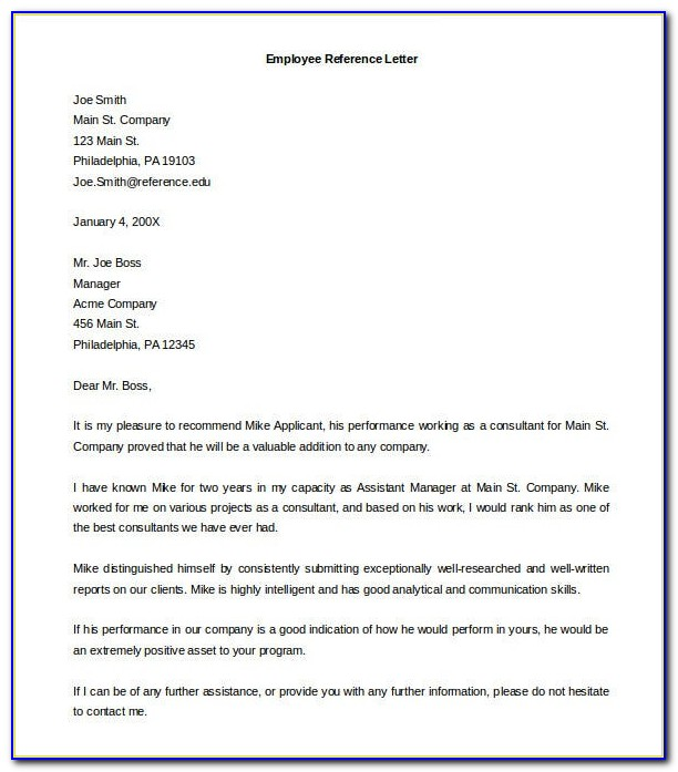 Free Templates For Writing A Reference Letter