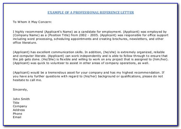 Free Templates Reference Letter