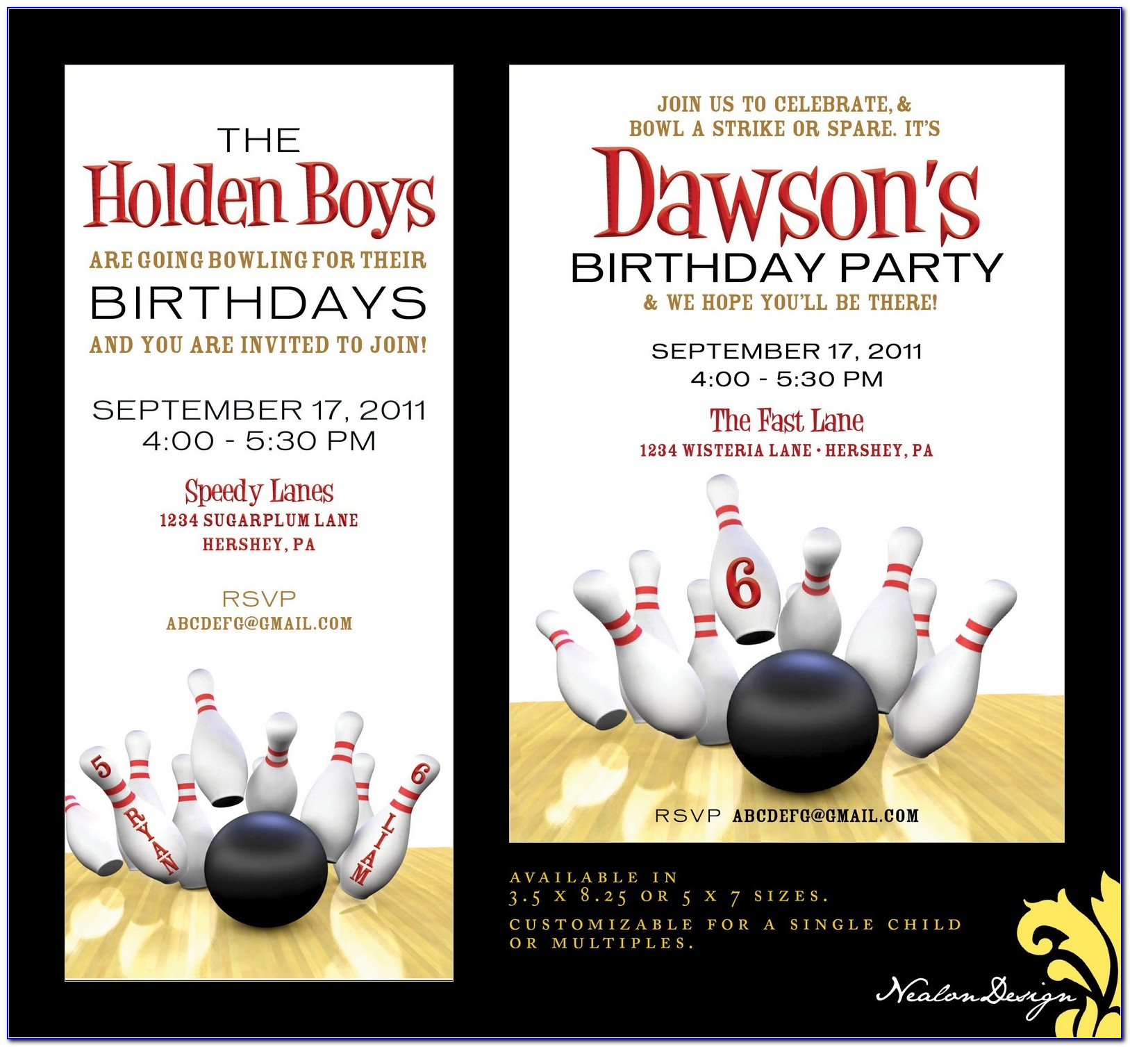 Free Ten Pin Bowling Birthday Invitation Templates