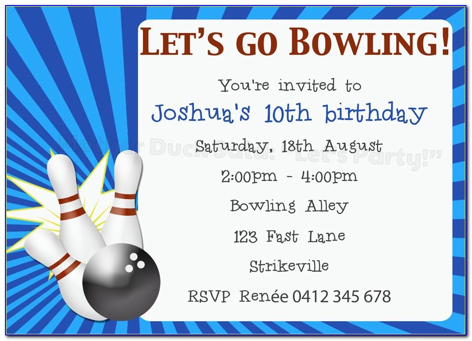 Free Ten Pin Bowling Party Invitation Template