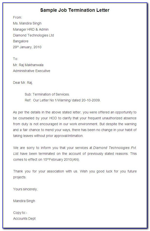 Free Termination Letter Sample