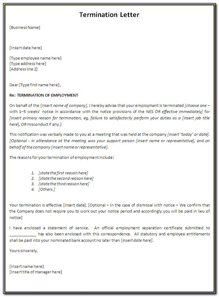 Free Termination Of Employment Form Template