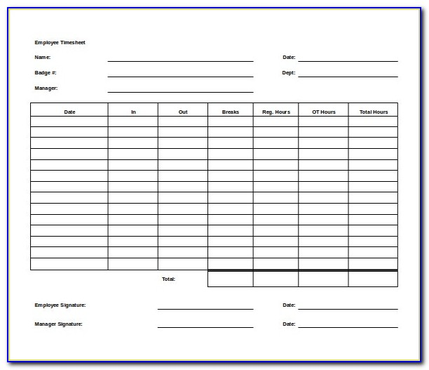 Free Timesheet Template Uk