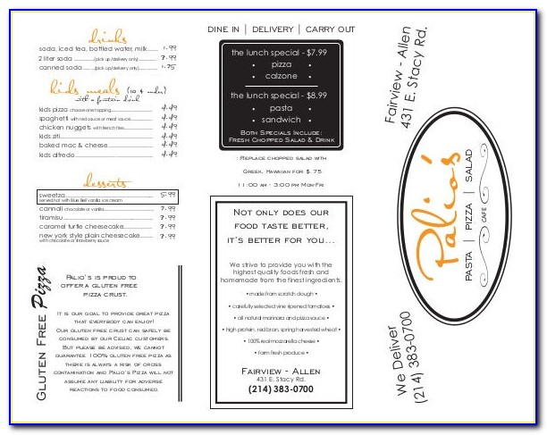 Free Tri Fold Take Out Menu Template