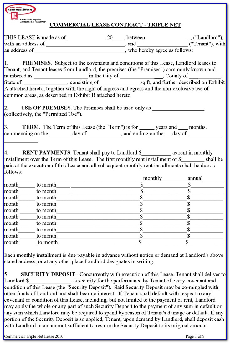 Free Triple Net Lease Agreement Template