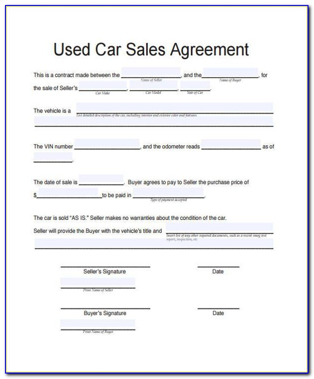 Free Used Car Sales Contract Form