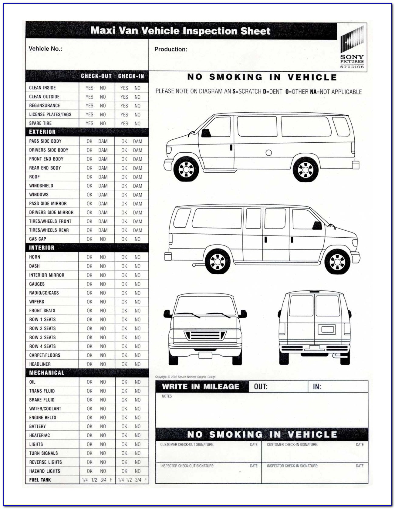 Free Vehicle Inspection Sheet Template Uk