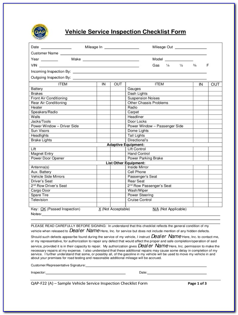 Free Vehicle Inspection Sheet Template Word