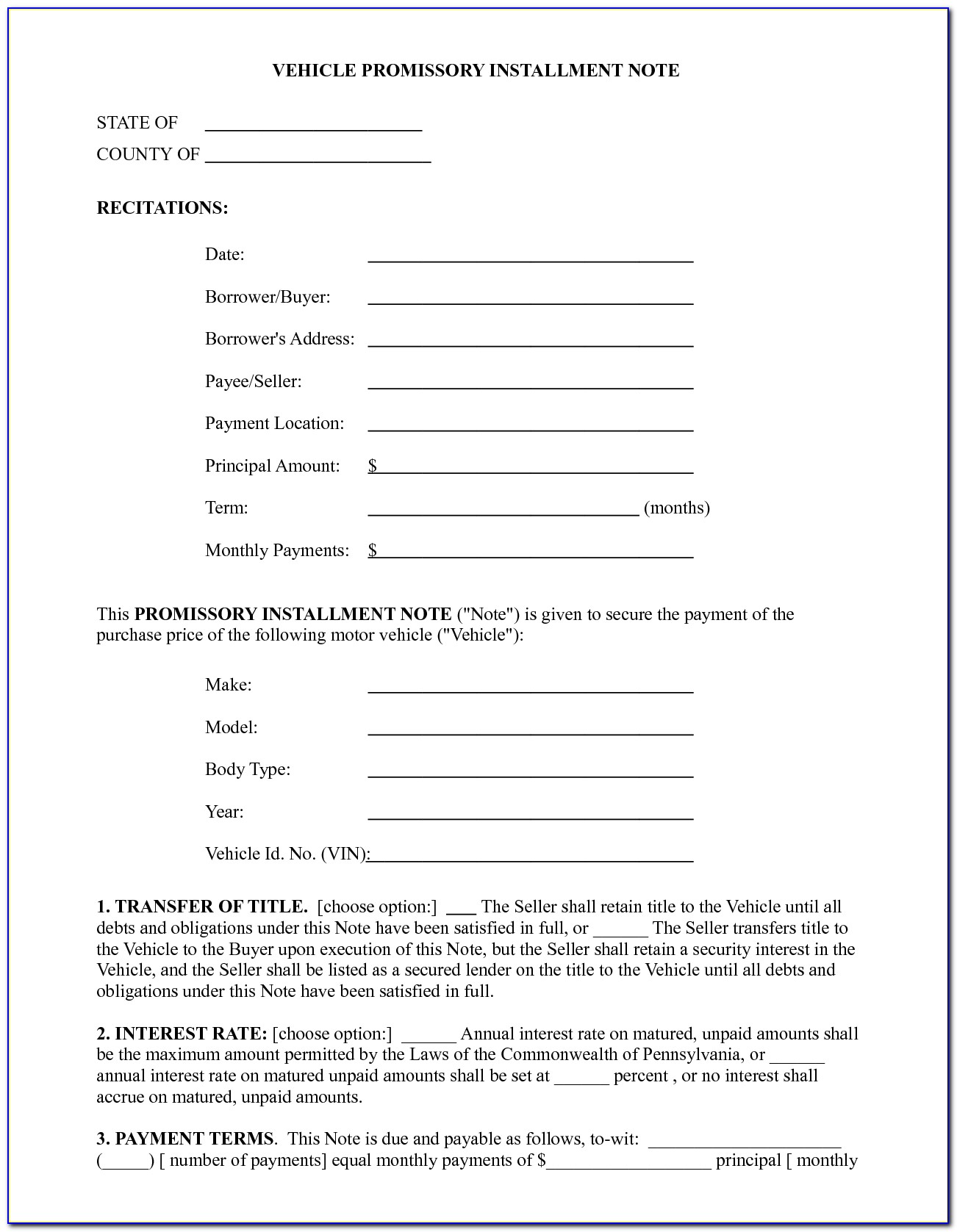 Free Vehicle Promissory Note Form