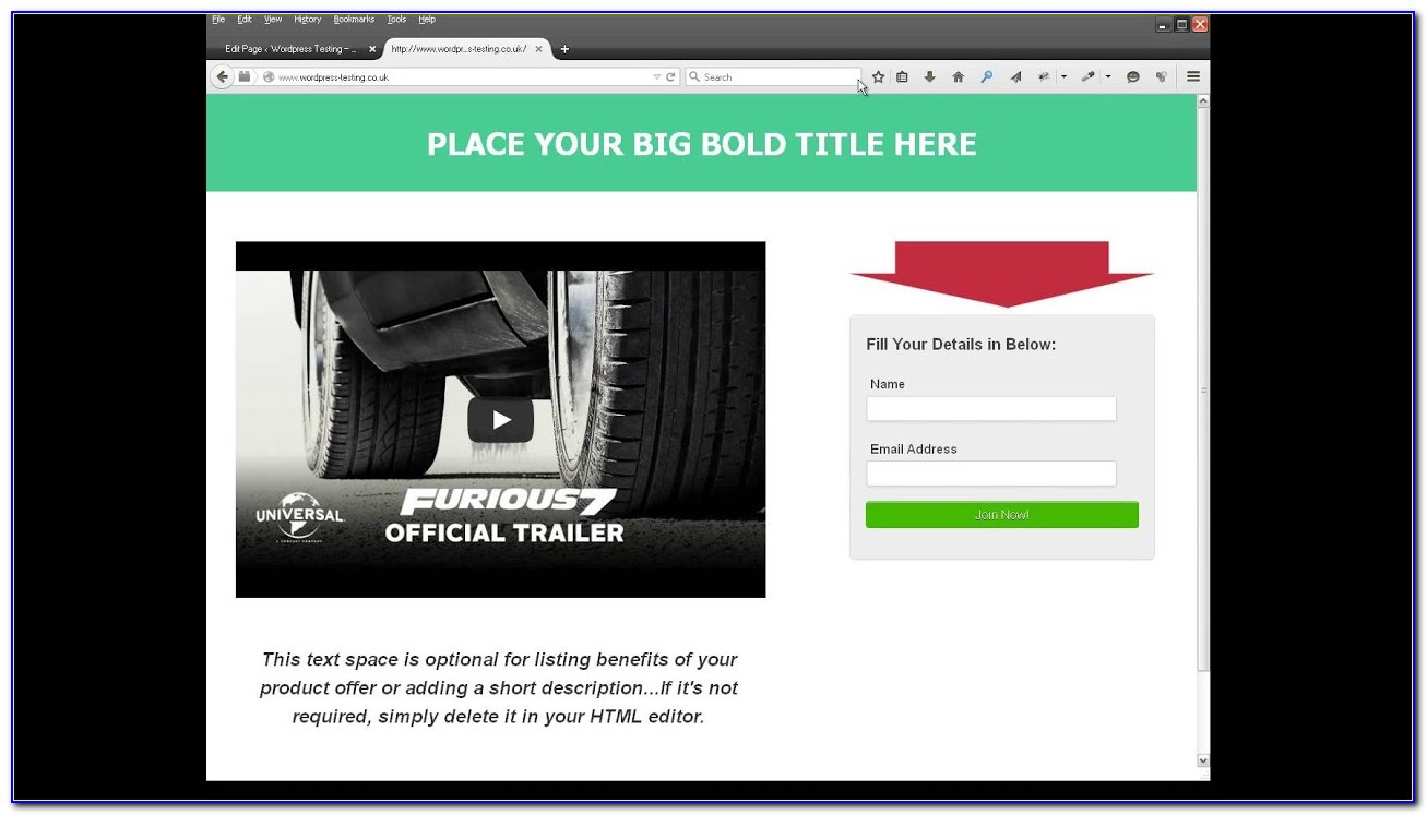Free Video Squeeze Page Template