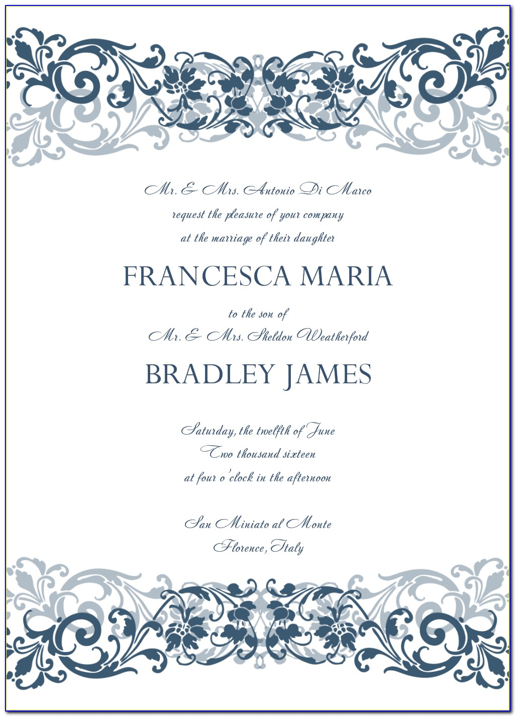 Free Wedding Invitation Wording Templates