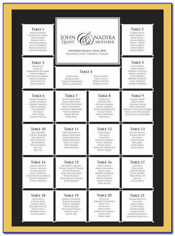 Free Wedding Seating Chart Template Pdf