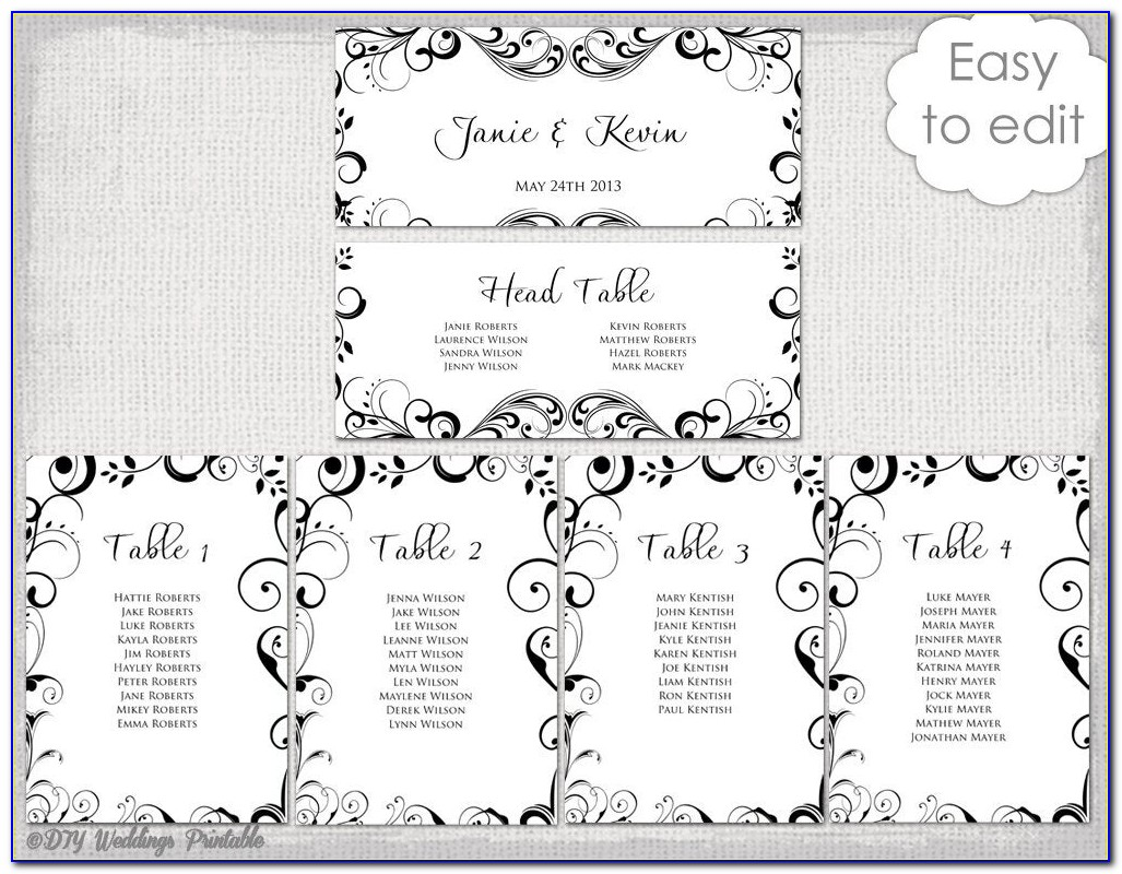 Free Wedding Seating Chart Template Photoshop