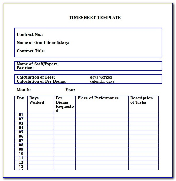 Free Weekly Time Sheet Forms