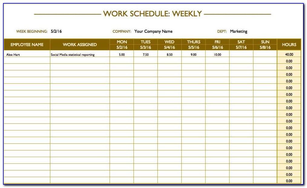 Free Weekly Work Plan Template