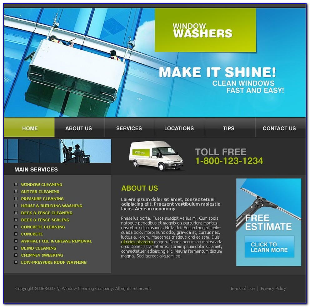 Free Window Cleaning Web Templates