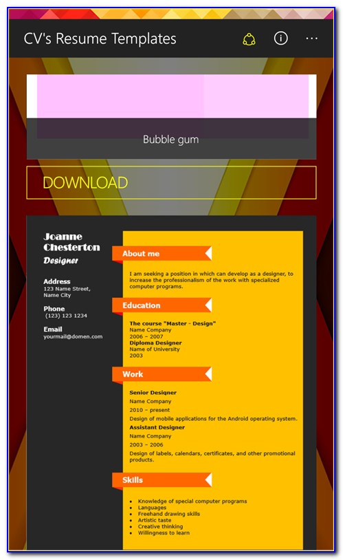 Free Windows 7 Resume Templates