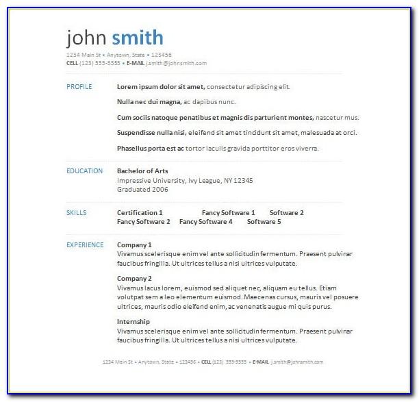 Free Word Resume Templates Modern