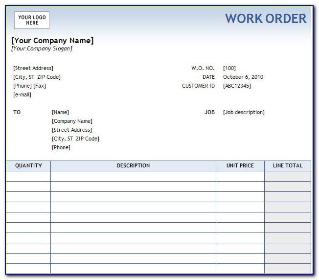 Free Work Order Database Template