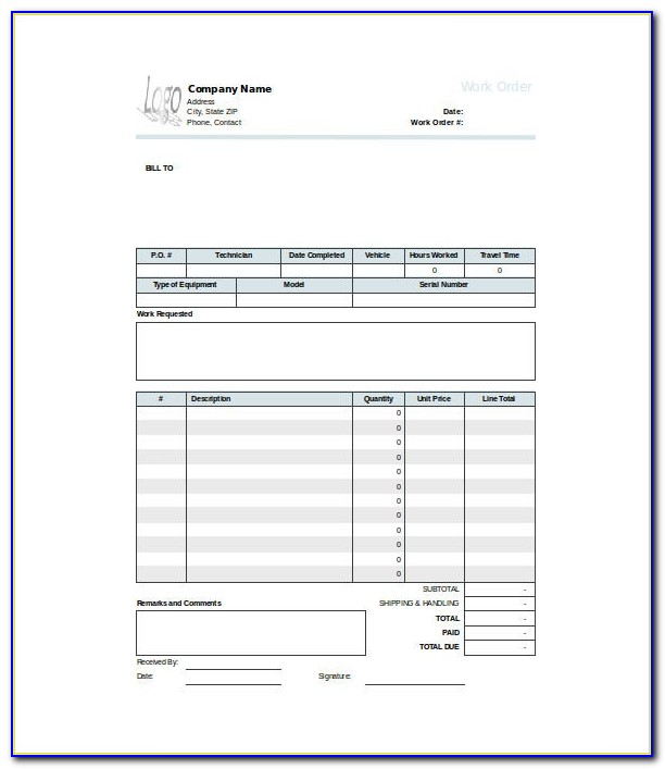 Free Work Order Template Excel