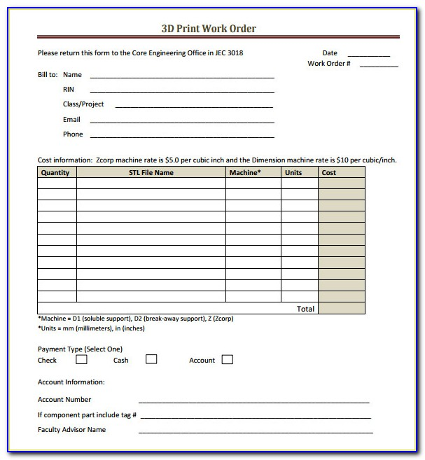 Free Work Order Templates Forms