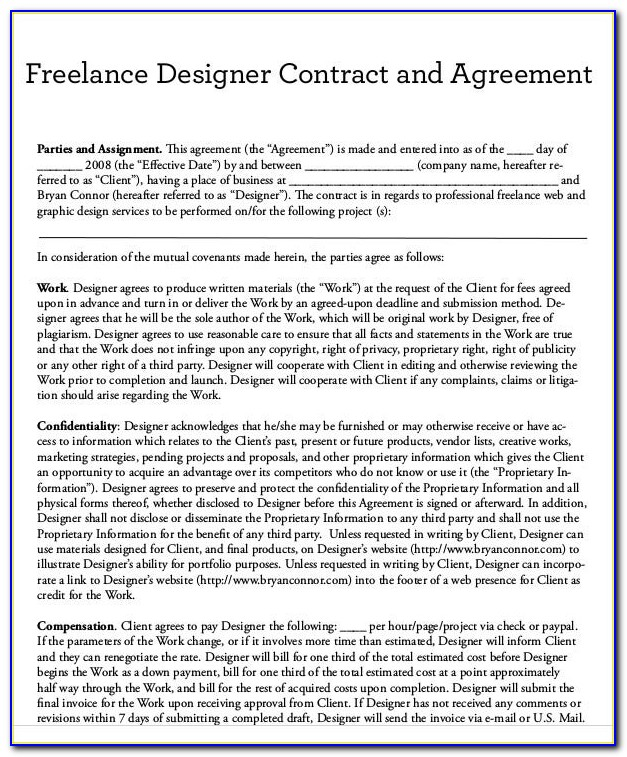 Freelance Contract Sample Letter