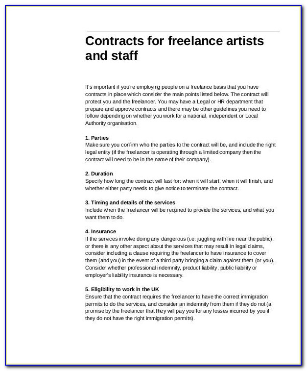 Freelance Contract Sample Singapore