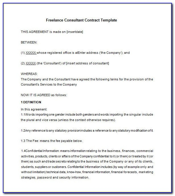 Freelance Contract Template Uk Free