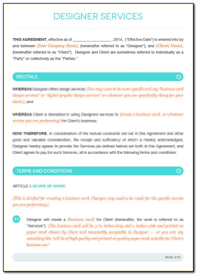 Freelance Fashion Designer Contract Sample
