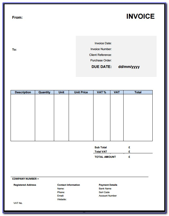 Freelance Invoice Template Uk Free
