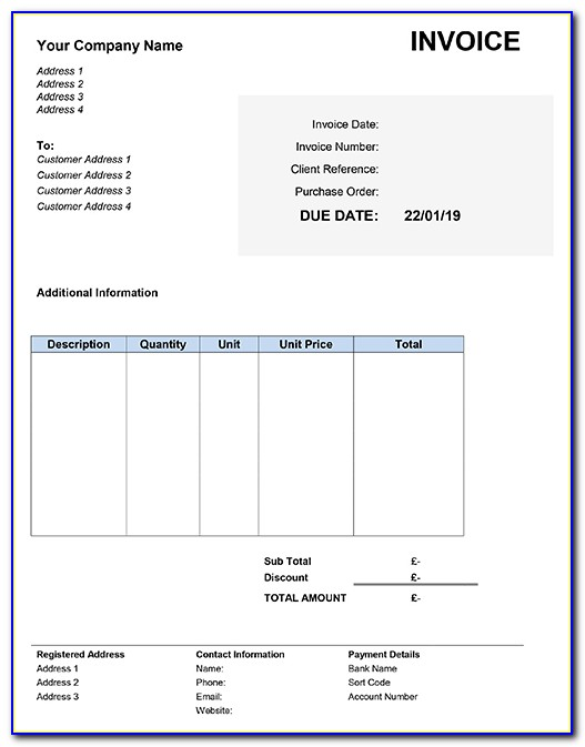 Freelance Writer Invoice Template Uk
