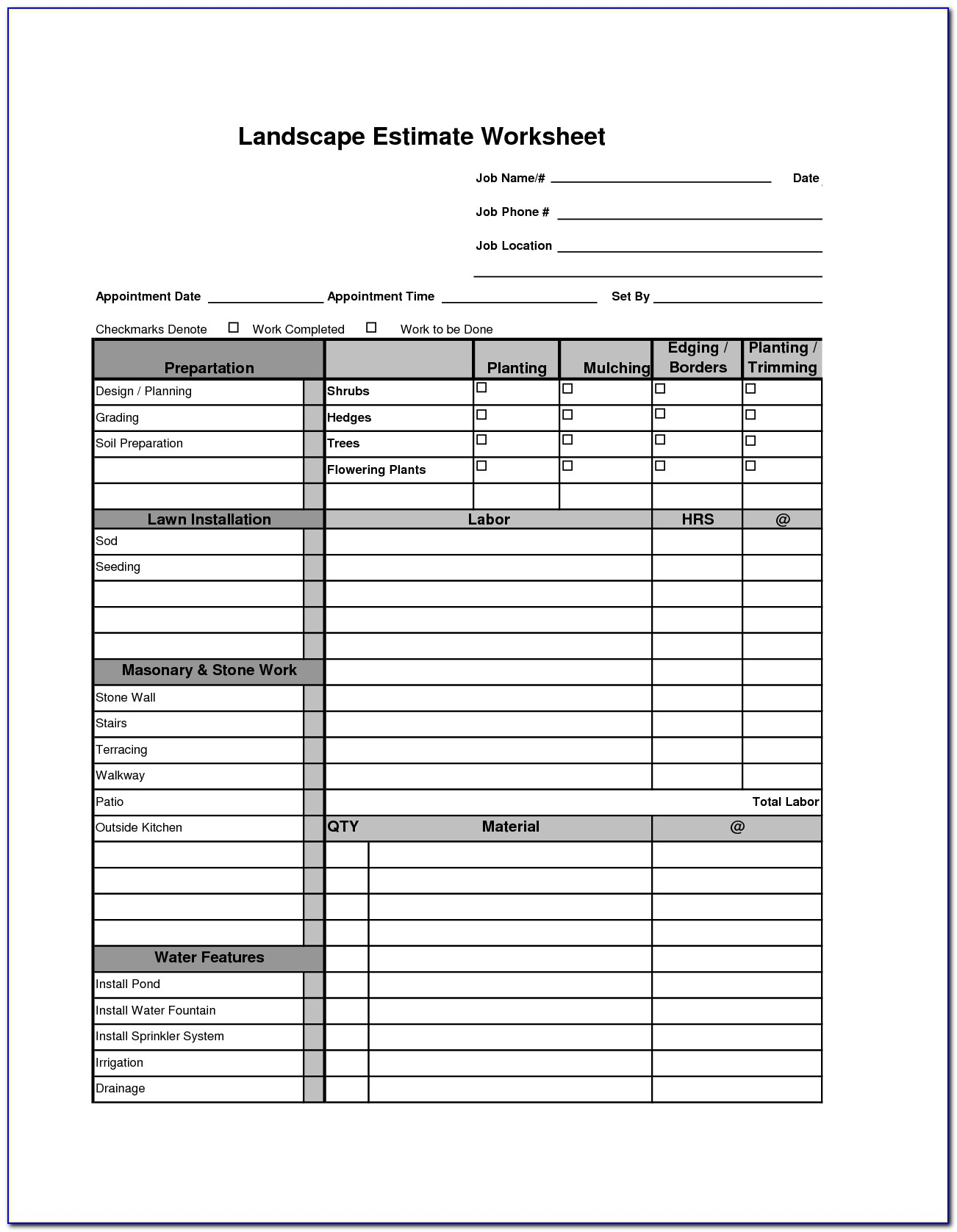 Freeware Landscaping Estimate Template