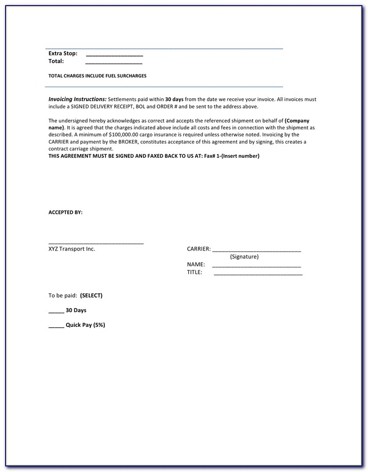 Freight Invoice Template Pdf