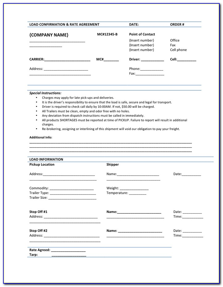 Freight Rate Agreement Template