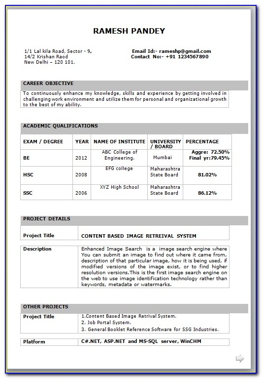 Fresher Cv Template Free Download