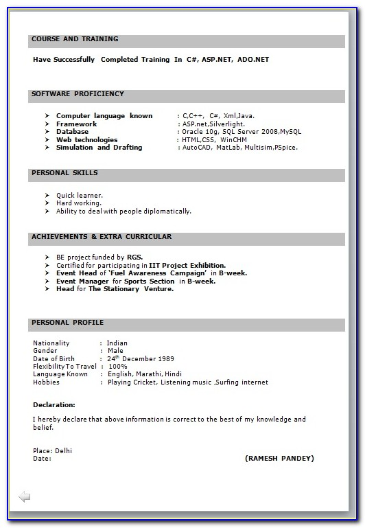 Fresher Resume Templates Word