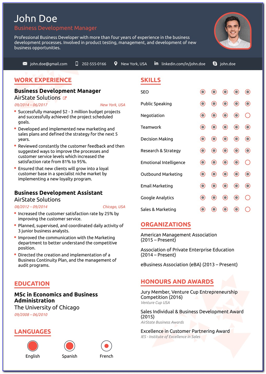Functional Executive Resume Template Free