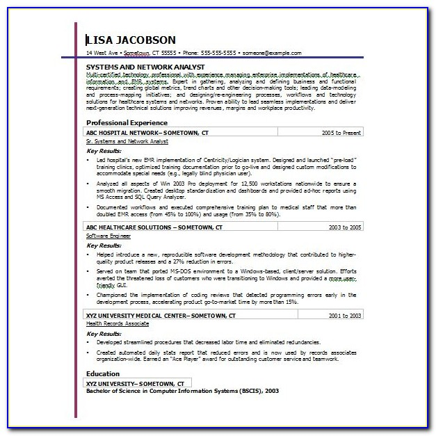 Functional Resume Free Samples