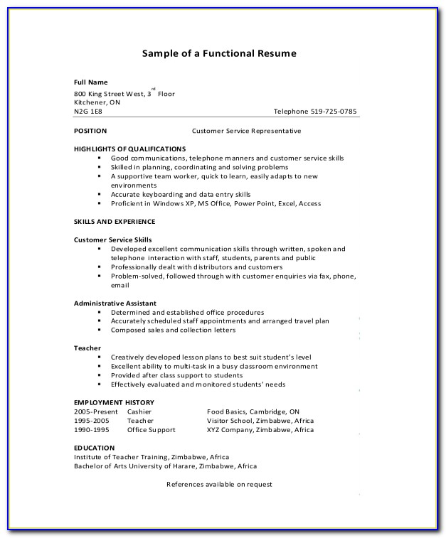 Functional Resume Samples Free