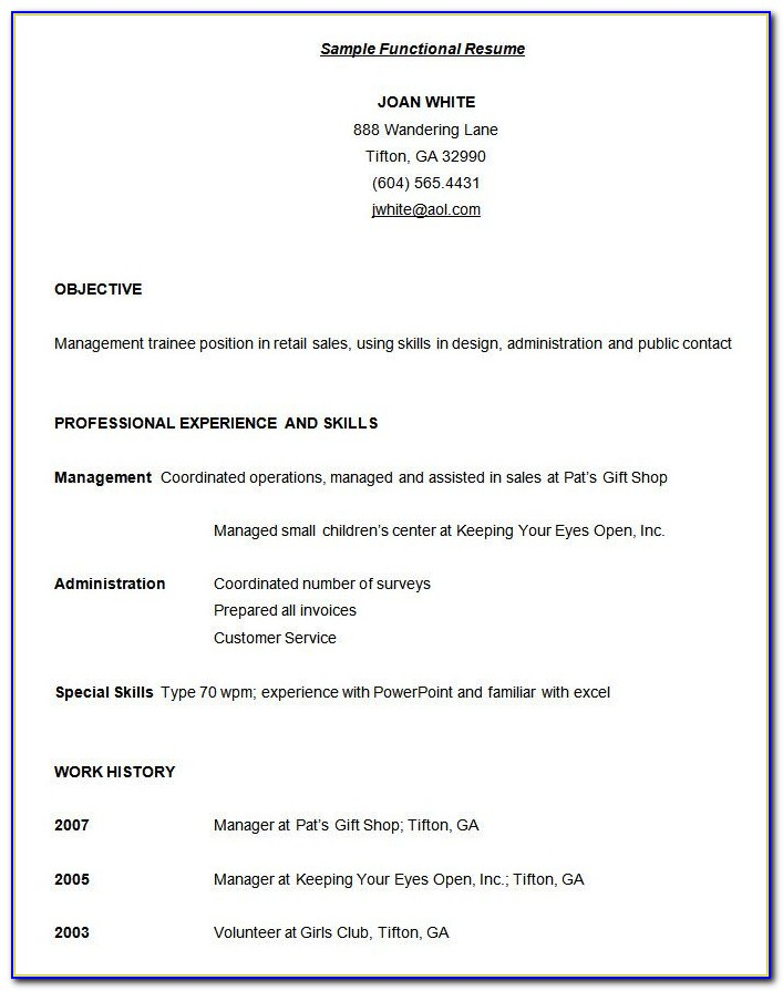 Functional Resume Template Download Free