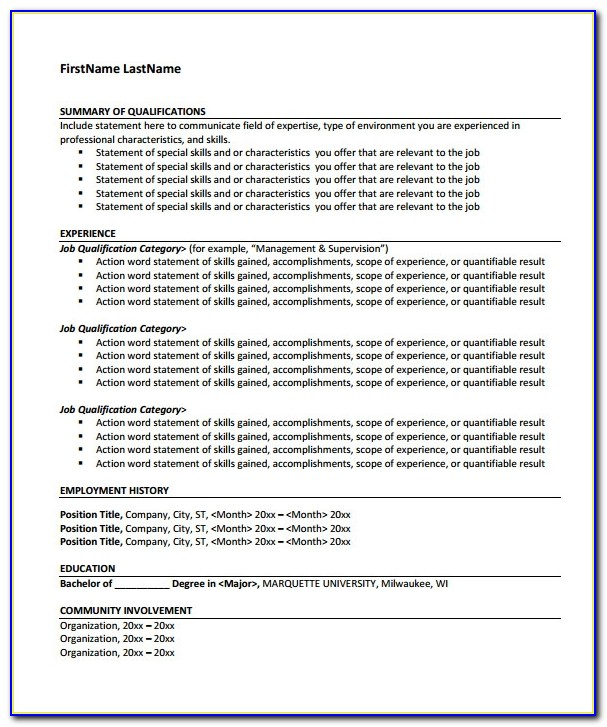 Functional Resume Template Microsoft Word