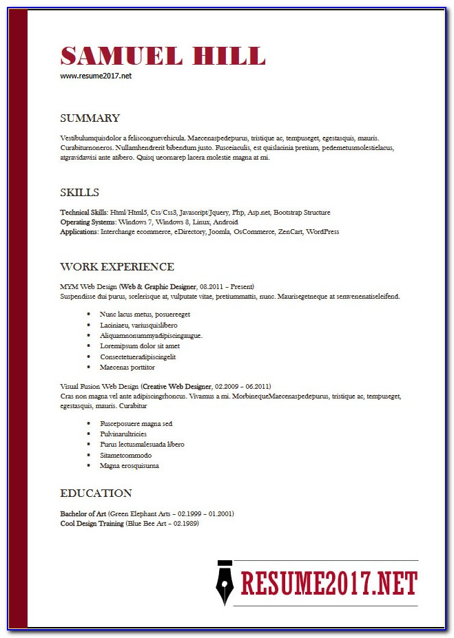 Functional Resume Template Word 2013