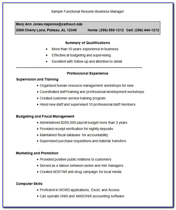 Functional Resume Templates Microsoft Word 2007