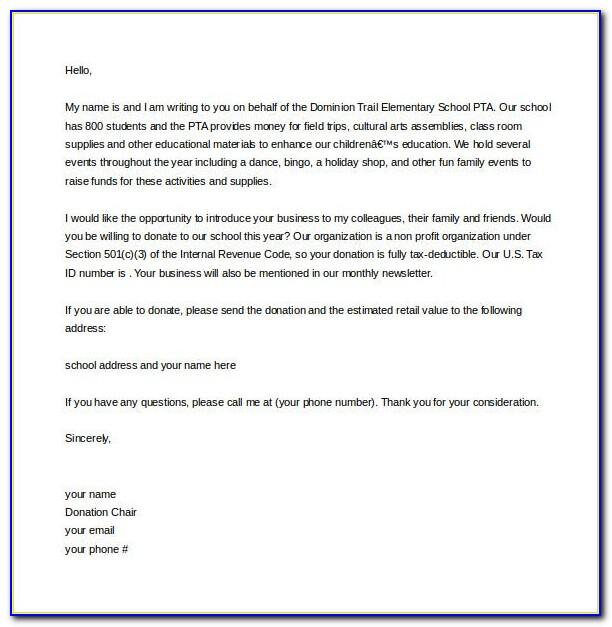 Fundraiser Letter Sample For School