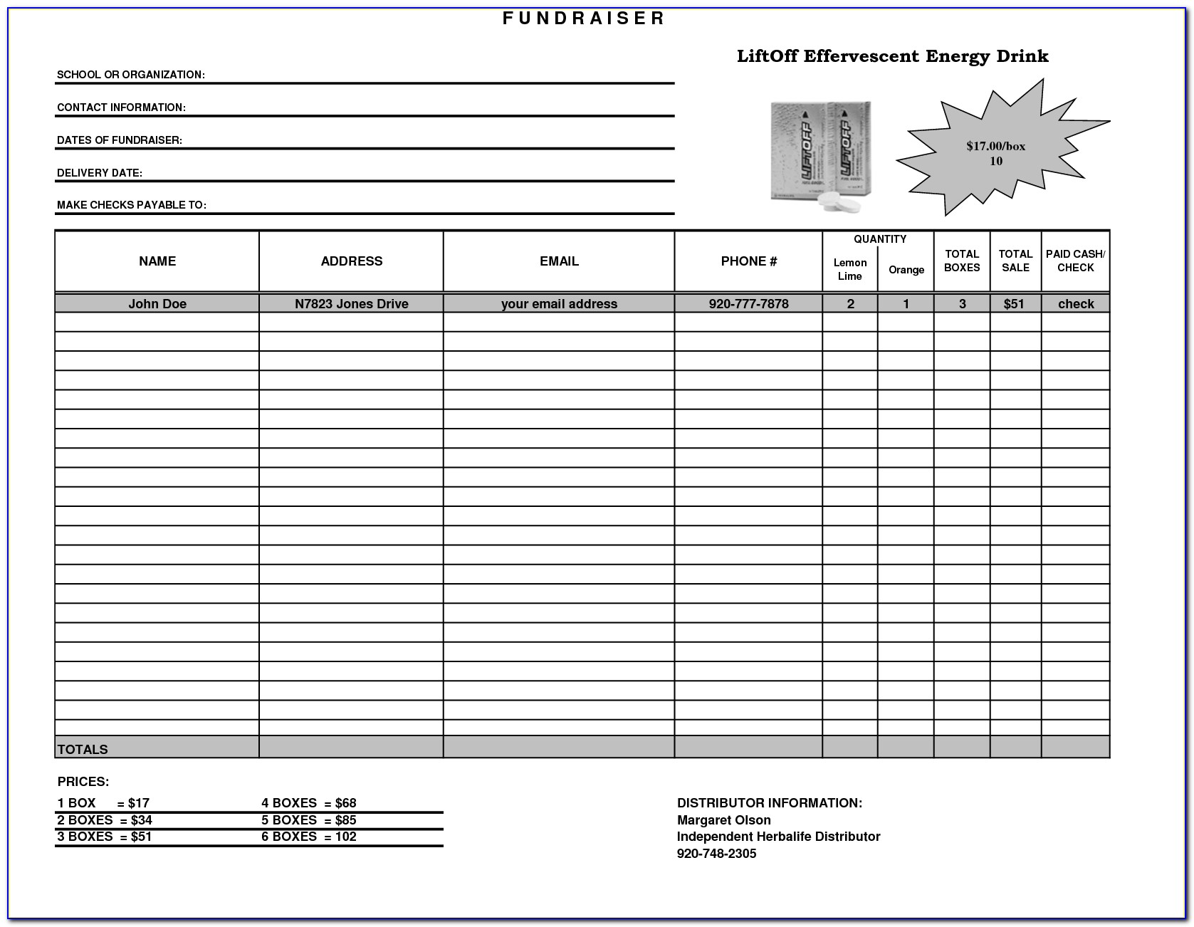 Fundraiser Order Form Template Excel Free