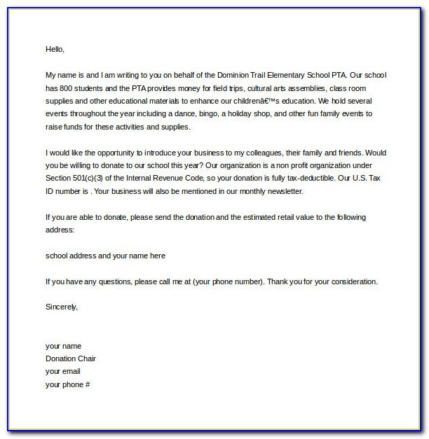 Fundraising Donation Letter Example