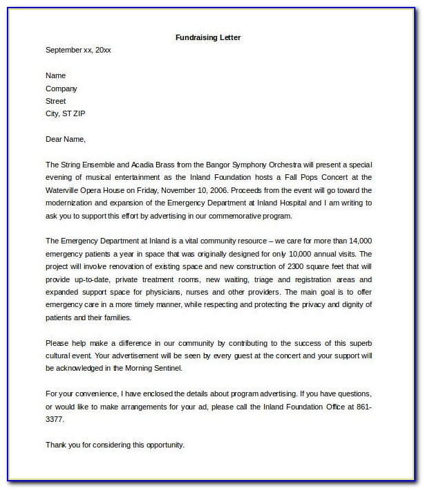Fundraising Donation Letter Template