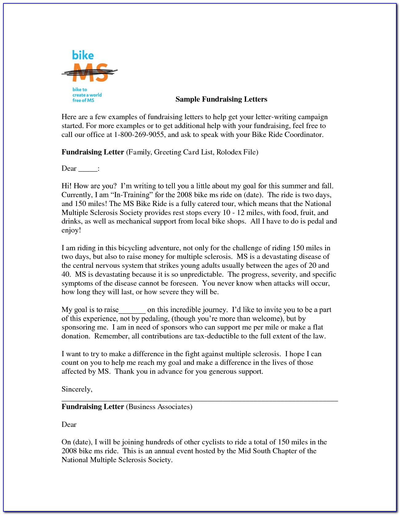 Fundraising Donation Request Letter Template